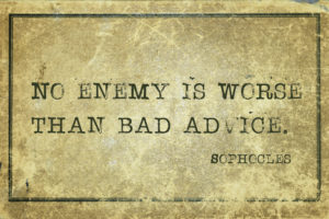 quote on old parchment about bad advice
